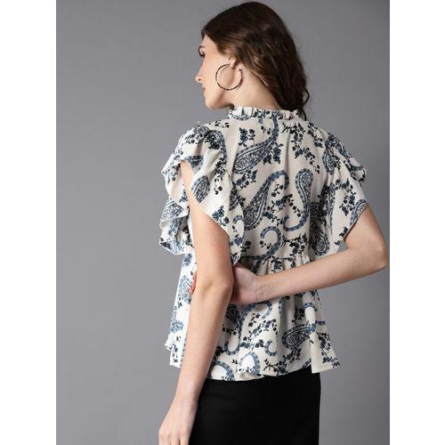 Moda Rapido Women Off-White & Blue Printed A-Line Top