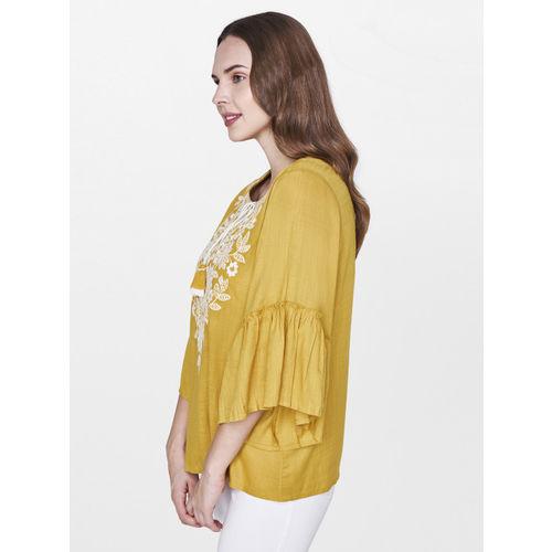 Global Desi Women Mustard Yellow Self Design Top