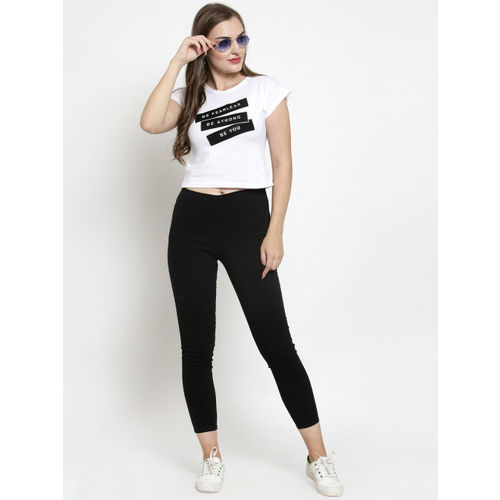 Everlush Casual Short Sleeve Graphic Print Women White Top