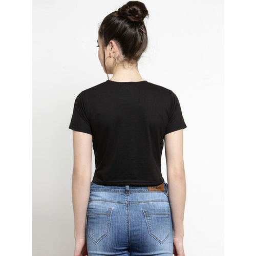 Everlush Women Black Solid Crop Top