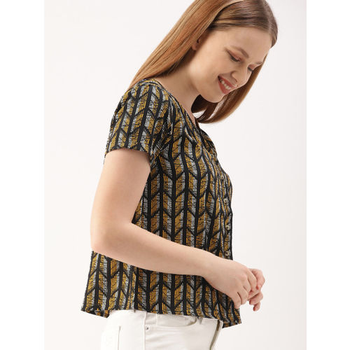 DressBerry Women Black & Yellow Printed Shirt Style Top