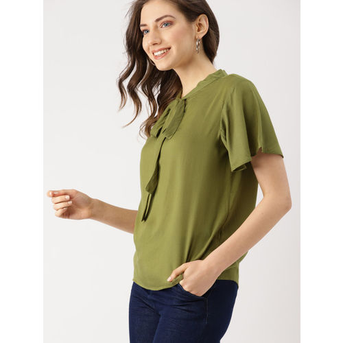 DressBerry Women Olive Green Solid Top