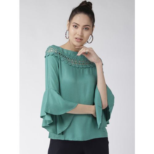 Style Quotient Women Green Solid A-Line Top