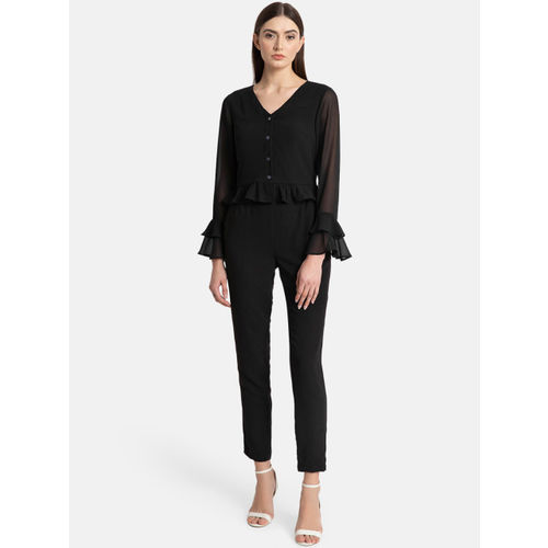 Kazo Women Black Solid Peplum Top