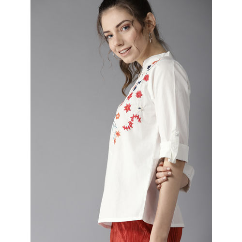 HERE&NOW Women White Embroidered Top