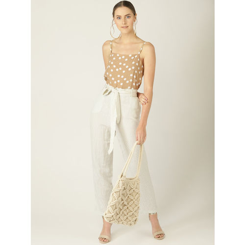 MANGO Women Beige & White Polka Dot Print A-Line Top