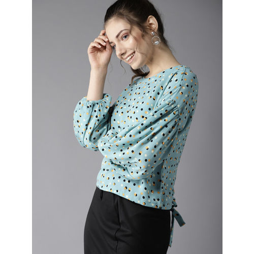 HERE&NOW Women Blue & Black Printed Styled Back Top
