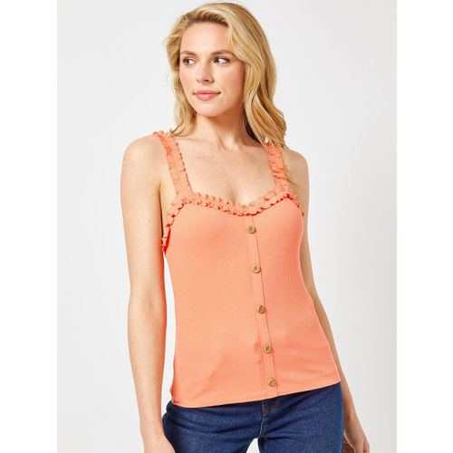 DOROTHY PERKINS Women Orange Ribbed Fitted Top