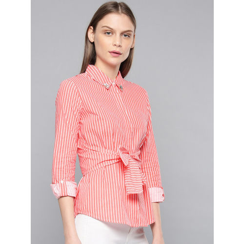 Chemistry Women White & Red Striped Shirt Style Top