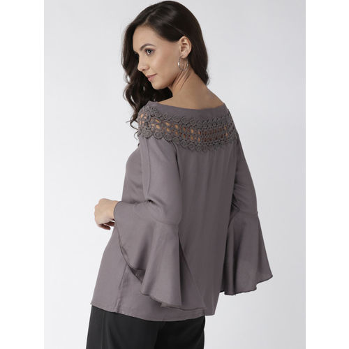 Style Quotient Women Charcoal Grey Solid Top