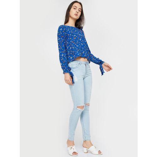 Ginger by Lifestyle Women Blue Printed Top