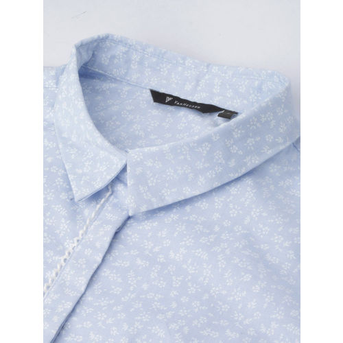 Van Heusen Woman Van Heusen Women Blue & White Regular Fit Printed Formal Shirt