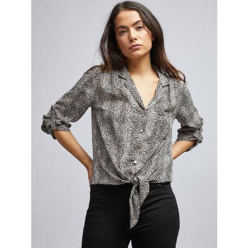 DOROTHY PERKINS Women Black & Off-White Regular Fit Printed Casual Shirt