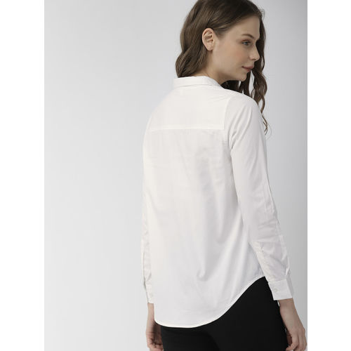Mast & Harbour Women White Regular Fit Solid Casual Shirt