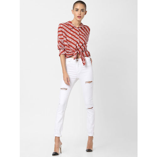 ONLY Women Red & White Regular Fit Printed Casual Shirt