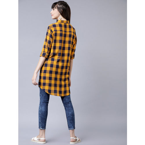 Tokyo Talkies Women Navy Blue & Mustard Yellow Regular Fit Checked Casual Longline Shirt
