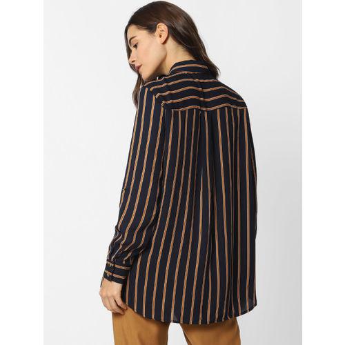 ONLY Women Navy Blue & Mustard Brown Regular Fit Striped Casual Shirt