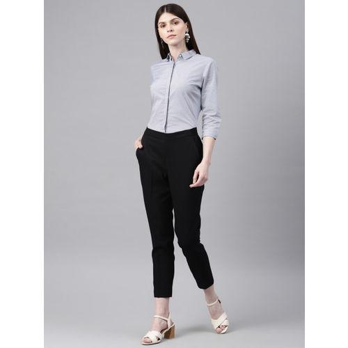 Van Heusen Woman White & Blue Regular Fit Printed Smart Casual Shirt