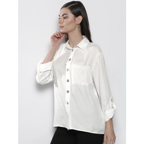 DOROTHY PERKINS Women White Regular Fit Solid Casual Shirt