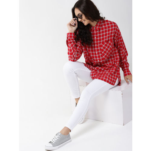 Mast & Harbour Women Red & White Regular Fit Checked Casual Shirt
