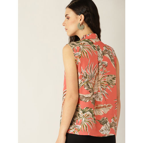MANGO Women Peach-Coloured & Green Regular Fit Printed Casual Shirt