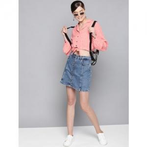 STREET 9 Women Peach-Coloured & White Regular Fit Printed Casual Crop Shirt