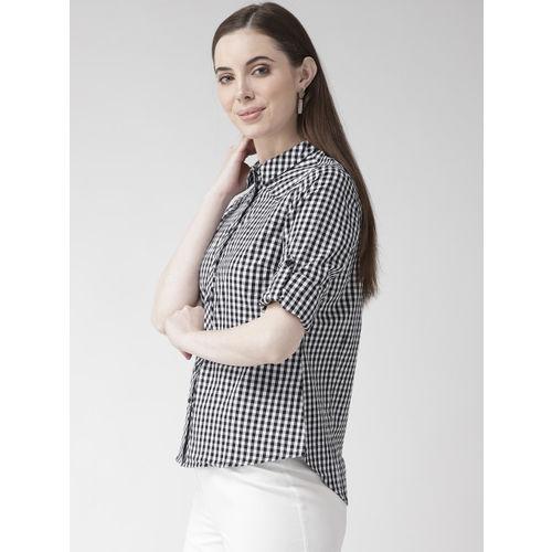 Xpose Women Black & White Regular Fit Checked Casual Shirt