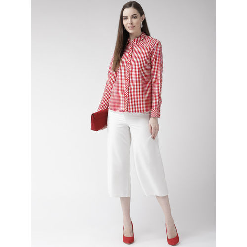 Xpose Women Red & White Regular Fit Checked Casual Shirt