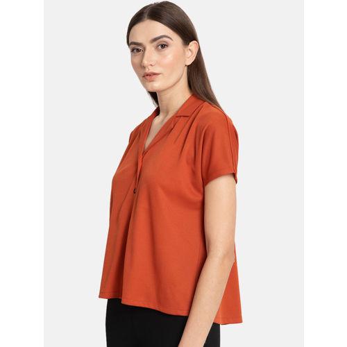 Kazo Women Rust Brown Regular Fit Solid Casual Shirt