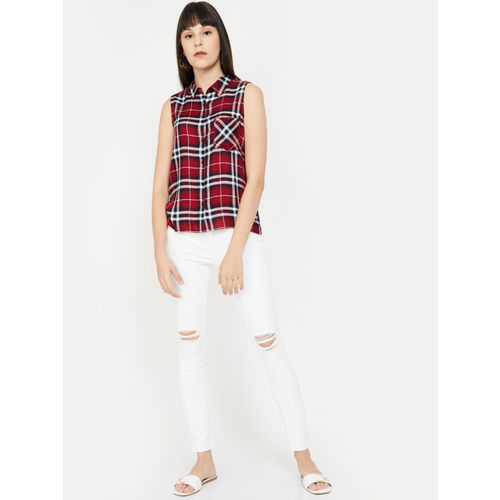 Fame Forever by Lifestyle Women Maroon Regular Fit Checked Casual Shirt