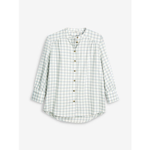 next Women Grey & White Regular Fit Checked Casual Shirt