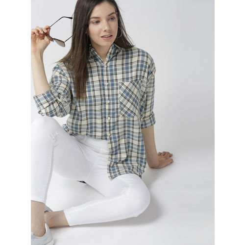 Mast & Harbour Women Off-White & Blue Checked Casual Shirt
