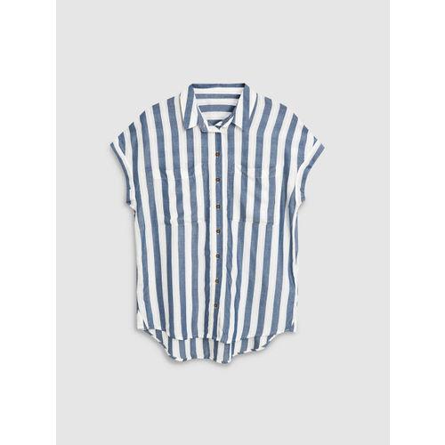next Women Blue & Off-White Regular Fit Striped Casual Shirt