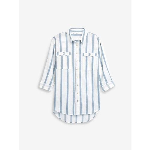 next Women White & Blue Regular Fit Striped Casual Shirt