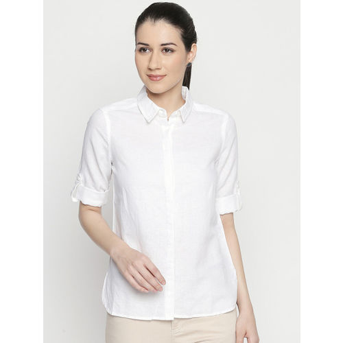 Annabelle by Pantaloons Women White Regular Fit Solid Casual Shirt