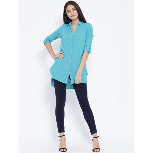 Oxolloxo Women Blue Regular Fit Solid Casual Shirt