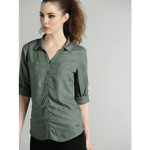 Roadster Women Olive Green Regular Fit Solid Casual Shirt