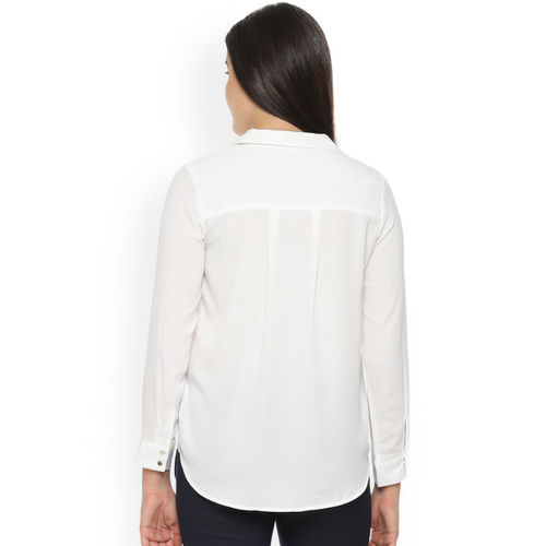Van Heusen Woman Women White Regular Fit Solid Casual Shirt
