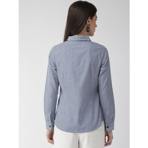 Xpose Women White & Blue Comfort Fit Striped Casual Shirt