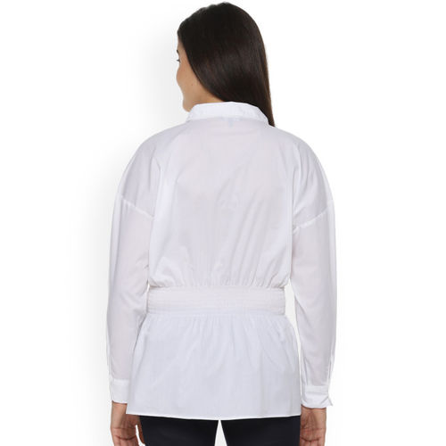 Van Heusen Woman Women White Regular Fit Solid Casual Shirt