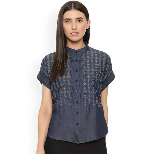 Van Heusen Woman Women Blue Regular Fit Printed Casual Shirt