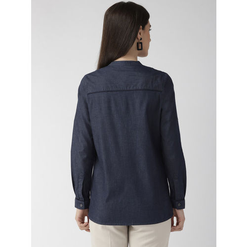 Xpose Women Navy Blue Comfort Regular Fit Solid Chambray Casual Shirt