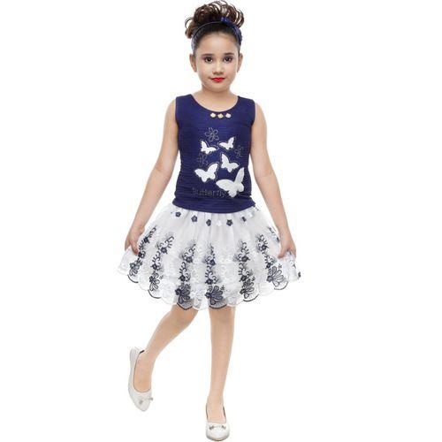 SmartRAHO Girls Midi/Knee Length Casual Dress(Dark Blue, Sleeveless)