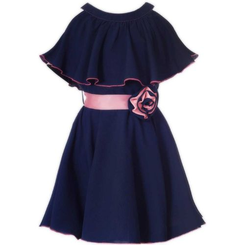 Mirrow Trade Indi Girls Midi/Knee Length Casual Dress(Blue, Fashion Sleeve)