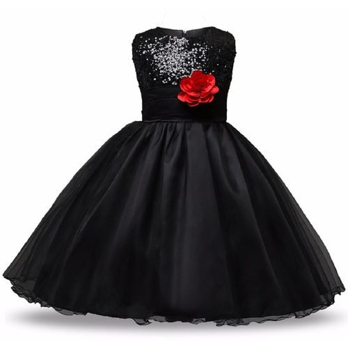 CINDERELLA THE CREATIONS FACTORY Girls Maxi/Full Length Festive/Wedding Dress(Black, Sleeveless)