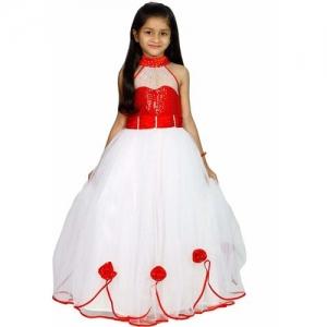 CINDERELLA THE CREATIONS FACTORY Girls Maxi/Full Length Festive/Wedding Dress(Red, Sleeveless)
