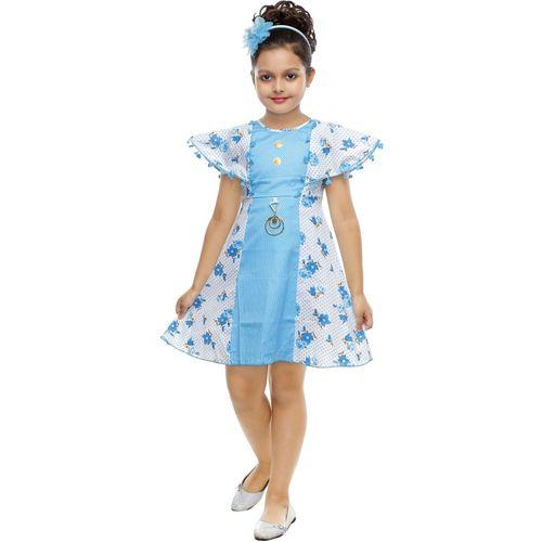 JBRFASHION Girls Midi/Knee Length Festive/Wedding Dress(Light Blue, Cap Sleeve)