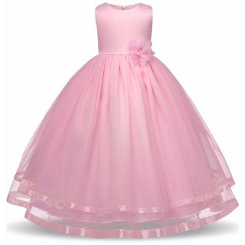 Giggles Girls Maxi/Full Length Festive/Wedding Dress(Pink, Sleeveless)
