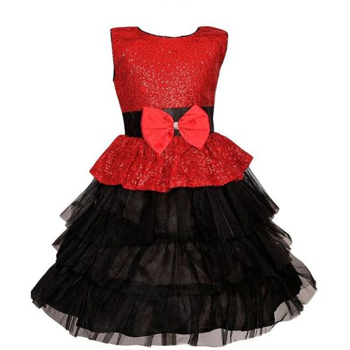 Lucky Angel Girls Midi/Knee Length Party Dress(Red, Sleeveless)