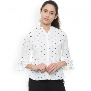 Allen Solly Woman White Regular Fit Printed Casual Shirt